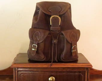 Etsy BDay Sale Medium Size Backpack In Soft Brown Leather With Brass Hardware- VGC