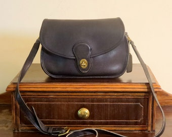 Dads Grads Sale Coach Prairie Bag Black Leather Cross Body 48 Inch Strap No. 9954- Very Good Condition