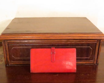 Dads Grads Sale Coach Checkbook Case And Card Holder With Tab In Red Leather - Style No 4620- VGC