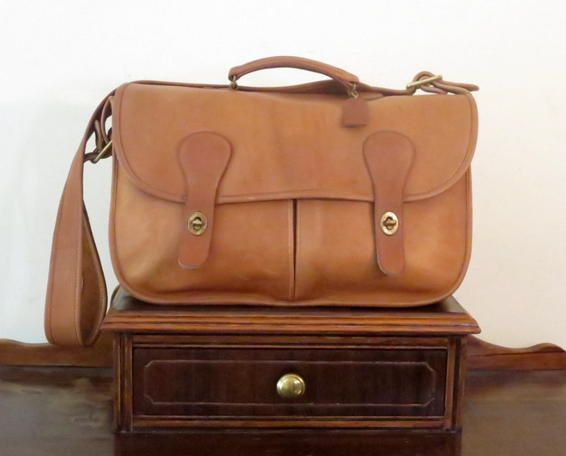 2f80207e28a15 Coach Carrier Bag In British Tan Leather With Brass Hardware Style No 9800-  Made In United States- VGC