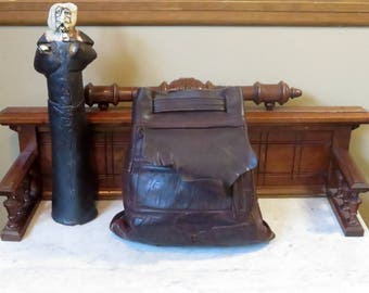 Etsy BDay Sale Striking Mahogany Leather Backpack With Exterior Pocket And Cinch Closure -VGC
