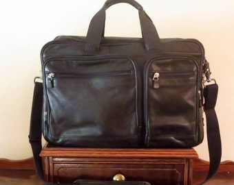 Dads Grads Sale HARTMANN Black Leather Soft Briefcase Attache Laptop IPad Case And Carry On Bag- VGC