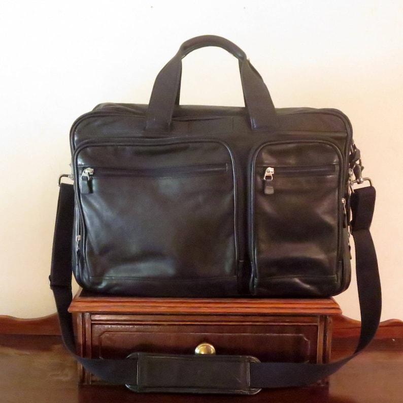 VGC SALE HARTMANN Black Leather Soft Briefcase Attache Laptop IPad Case And Carry On Bag