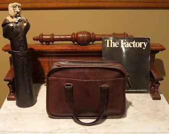 Etsy BDay Sale New York Coach Skinny Flight Bag In Mocha Leather Style No 9706- Made In the New York Factory - Rare Find- Strap Missing