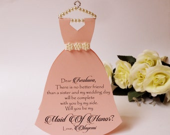 BLACK WEEKEND SALE Bridesmaid Invitation Will you be my Bridesmaid Card Dress invitation Bridal Shower Flower girl Maid of honor  Dress Card