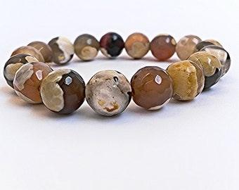 Garnet Beads Wrist mala yoga bracelet for meditation Bracelet with Brown Yellow Mottled and Cream Marbled Beads Handmade gift  for her