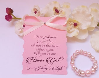 Flower Girl Invitations, Will you Be My Flower Girl, Junior Bridesmaid Invitation with bracelet, Flower Girl Proposal, proposal