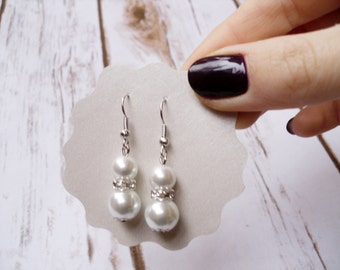 Bridesmaids Earrings Wedding Jewelry Pearl Earrings White Handmade Jewelry Dangle Pearl Earrings Bridesmaid Gift Bridal Party Gifts