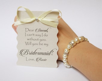 Will you be my Bridesmaid card and bracelet Ask Bridesmaid Bridesmaid gift Bridesmaid jewelry Bridal party invitations gift card