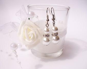 bridesmaid gift bridesmaid earrings freshwater pearl earrings white pearl earring wedding earrings wedding gift