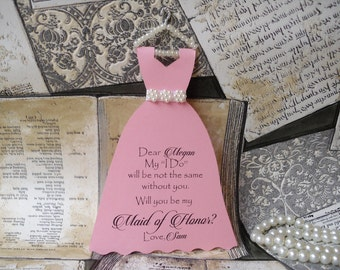Will you be my bridesmaid be my maid of honor  Proposal Card Dress Be My Bridesmaids Gift CArd Bridal Party Wedding party Invite Bridesmaids