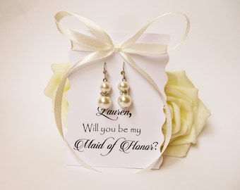 Weekend SALE Will You Be My Bridesmaid  Ask Card Proposal Invitation Card Dangle Earrings Pearl Earrings Bridesmaid Rhinestone Earrings