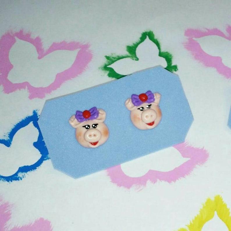 girl /& boy porcelana fria ni\u00f1a y ni\u00f1o cold porcelain Aretes puerquito Earrings piggy
