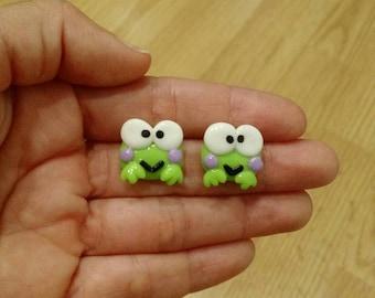 Keroppi Earrings cold porcelain/ Aretes Keroppi porcelana fria