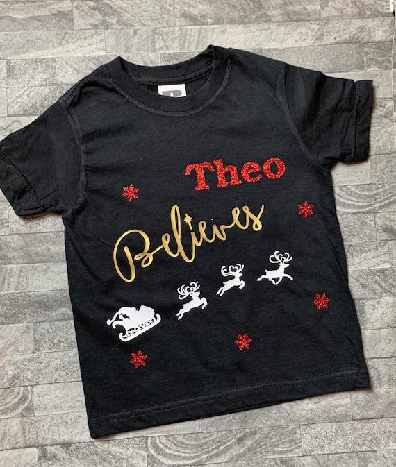 Personalised Christmas Tshirt Childrens Glitter Believe In Santa T-Shirt Gift