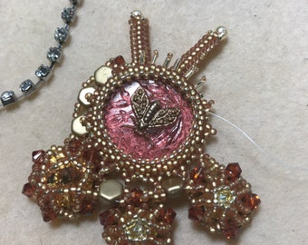 Queen Bee Hand Beaded Pendant One of a Kind