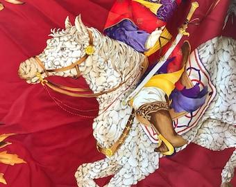 Salvatore Ferragamo Equestrian Oriental Emporer Silk Scarf Rare Find