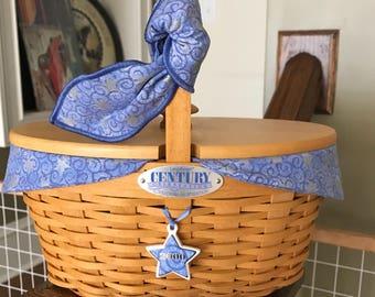 Longaberger Century Celebration Basket w Liner Inser and Wood Cover
