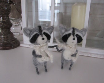 toy Wool raccoon Needle felted toy Needle felted animal Felt pet Wool sculpture Soft sculpture Miniature raccoon Felting animals