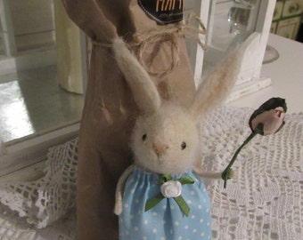 Feltedbanny Rabbittoy Woolfelt animals Little girl Bunny in dress Rabbit wool is a Wonderful gift Handmade Felted toy