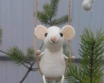 Mouse on a swing wool home decor mouse gifts needlefelted animals felted toy cute mouse easter decor cute accessory needle felted mice