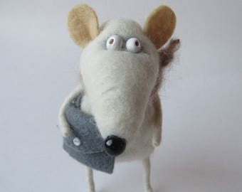 Rat wool toy Animal felted pet Wool decor animal Toy wool Rat  Baby animal felt Woo baby animal Miniature decor Felt needle