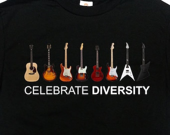 GUITAR T-SHIRT Mens Funny Acoustic Electric Bass Rock Music Tree Band Strings