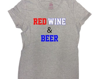 bbd32a6b Funny Drinking Shirt America T Shirt July 4th TShirt Memorial Day Fourth of  July Gifts USA Alcohol Red Wine And Beer Ladies Tee - SA229