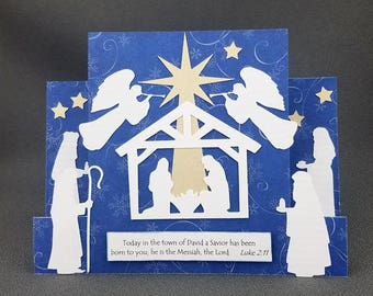 Handmade Nativity Side Step Christmas Card