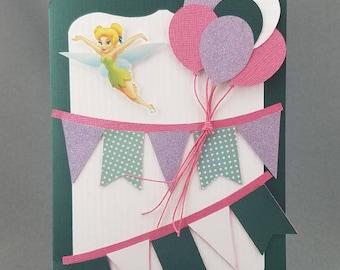 Handmade Trifold Tinkerbell Birthday Card