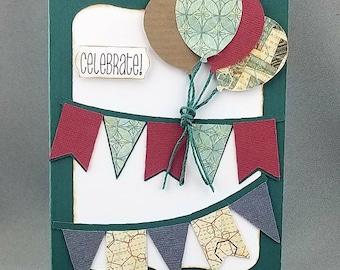 Handmade Trifold Green Birthday Card