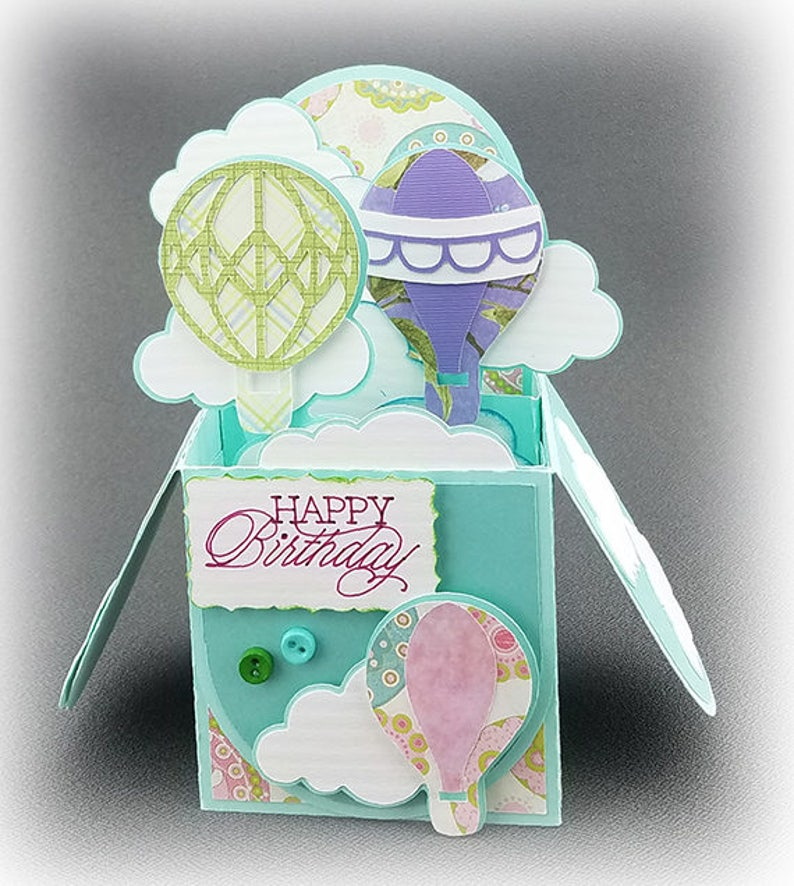 Handmade Happy Birthday Hot Air Balloons Box Card Blue Green