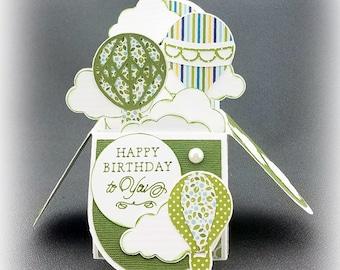 Handmade Happy Birthday Hot Air Balloons box card green
