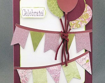 Handmade Trifold Maroon Birthday Card