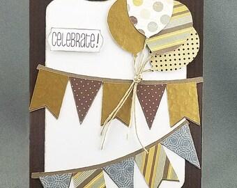 Handmade Trifold Brown Birthday Card
