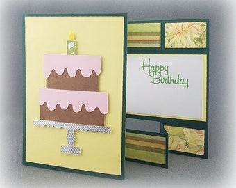 Handmade Trifold Yellow and Green Birthday Card