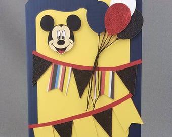Handmade Trifold Mickey Mouse Birthday Card