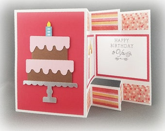 Handmade Trifold Red and Yellow  Birthday Card