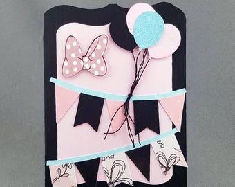 Handmade Trifold Minnie Mouse Birthday Card