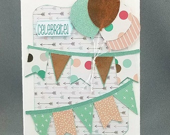 Handmade Trifold Mint Green Gold Foil and Peach Birthday Card