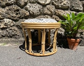 1950s Bamboo Stool Vintage Pouf Accent Armchair Vintage Chairs Rattan Armchair Vintage Natural Decor Bohemian