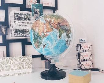 Grand Globe Lumineux Vintage  / Globe Light / Géographique mappemonde - Globe terrestre Vintage - Monde - Nova Rico