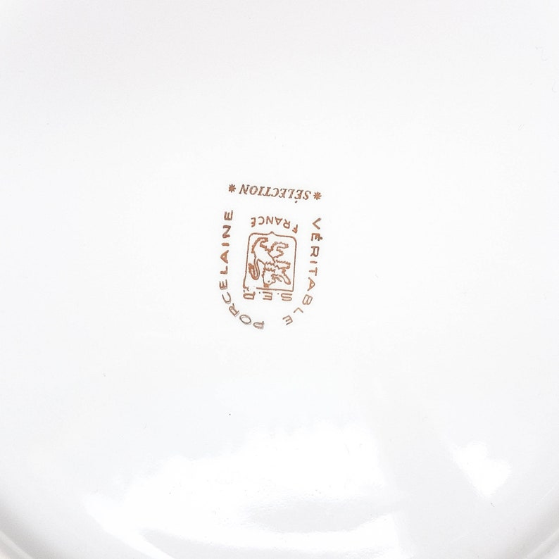 Large round white golden dish Genuine porcelain SEP France selection Tray Centerpiece Tableware vintage Mid century Wedding Deco