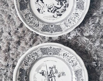 "Porcelain plates from Gien serie ""Proverbs and Militaries"" / Dinnerware made in France"