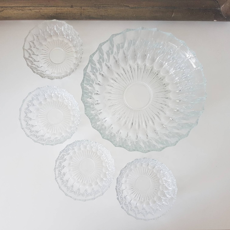 Vintage glass dessert set Bowls bowl Bowl Ramequin Gift for her Gift for her Gift idea Meal Christmas Old dishes