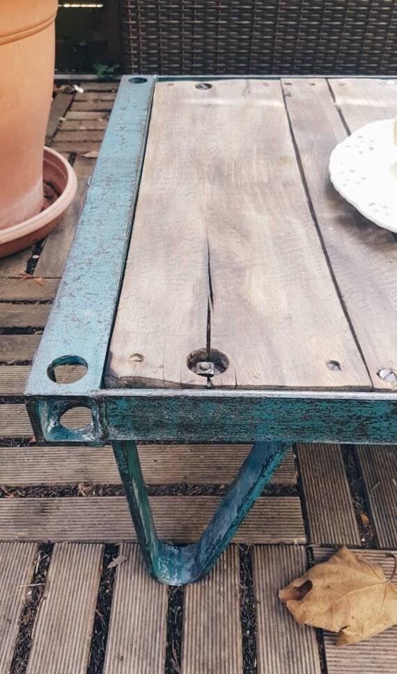 Chariot roulettes d'usine sur industrielle Style basse Table Table Vintage industriel OXZPkiu