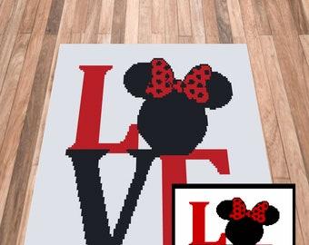 C2C crochet Graph, Minnie mouse Love Crochet pattern