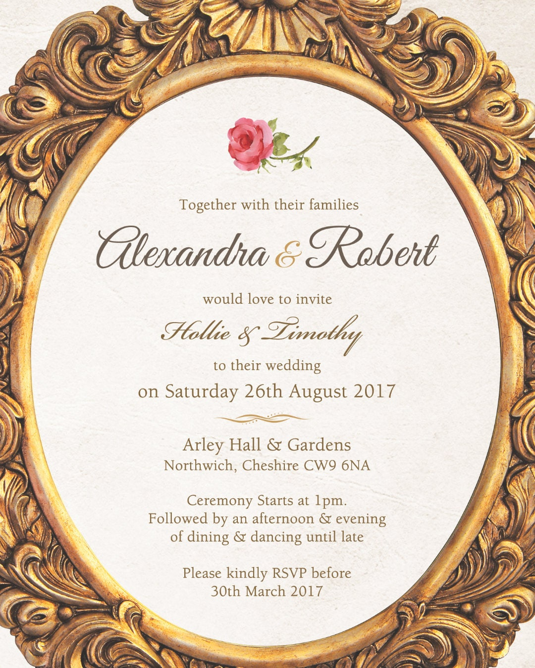 Printed Guest Names For Invitations Add On Item When