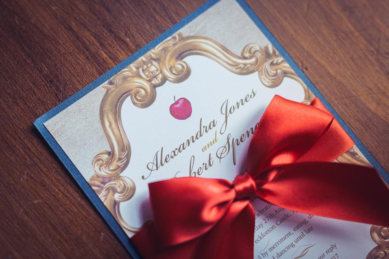 Snow White Invitation Fairytale Wedding Gold Red Navy | Etsy