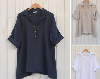 fbb1ba71f5 Lagenlook Plus Size Linen Blouse Ladies Womens Vintage Summer Quirky Artsy  New Style